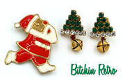 Santa Claus Pin and Rhinestone Christmas Tree Earrings Set, Vintage