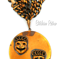 Mid Century Modern Theater Masks Necklace at bitchinretro.com