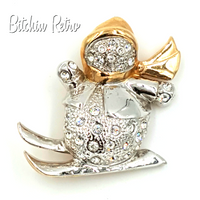 Roman Jewelry Snowman Rhinestone Brooch at bitchinretro.com