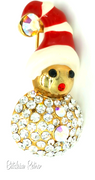 Vintage Rhinestone Christmas Brooch with Holiday Mouse in Stocking Cap