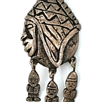 Vintage Mask Brooch  Primitive Articulated 900 Silver Tribal Pin