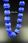 Art Glass Beaded Necklace Artisan Designed with Violet and White Swirls
