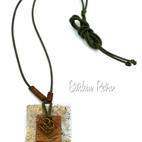 Unisex Mixed Metal Necklace On Brown Cording with Boho Gypsy Style