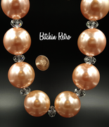 You and I Vintage Necklace with Peach Pearlized Beads and Rhinestones