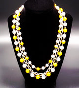 Hong Kong Vintage Necklace with Yellow and White Beads and Faux Pearls