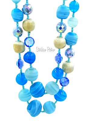 Art Glass Beaded Necklace In Aqua Blue Hues with Aurora Borealis Rhinestones