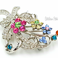 Rhinestone Flower Brooch Retro Pink and Blue Floral Pin