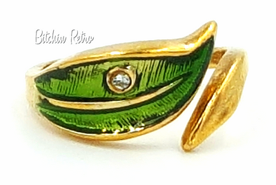 Avon Leaf Glow Vintage Ring With Green Enamel and Rhinestone Accent