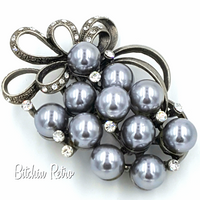 Grey Pearl Rhinestone Brooch  Abstract Grape Cluster Pin