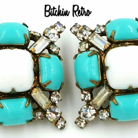 Vintage Kenneth Jay Lane Rhinestone Earrings 1960's Designer KJL