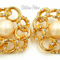 Rhinestone and Pearl Bridal Earrings Intertwined His and Her Rings
