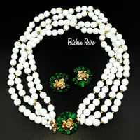 Gay Boyer Vintage Milk Glass and Frog Necklace Set at bitchinretro.com