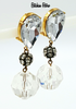 Les Bernard Vintage Lucite and Rhinestone Drop Earrings Designer Retro Disco