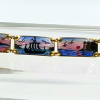 Opro Norway Sterling Bracelet With Guilloche Enamel Panels Vintage Mid Century