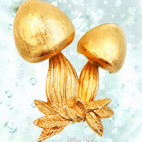 Napier Vintage Brooch 1970s Mushroom Retro Pin and Published Book Piece