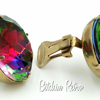 Vintage Rainbow Rhinestone Earrings at bitchinretro.com