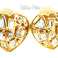 Swarovski Crystal Vintage Heart Earrings at bitchinretro.com