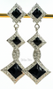 Bijoux Designs Earrings Vintage Art Deco Silver and Black Enamel