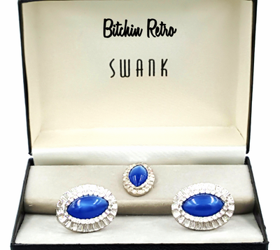 Swank Cufflink and Tie Pin Vintage Set With Original Box  Blue Cabochons