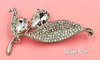 Floral Rhinestone Brooch Pear Cut Flower Pin With Pave Set Leaves