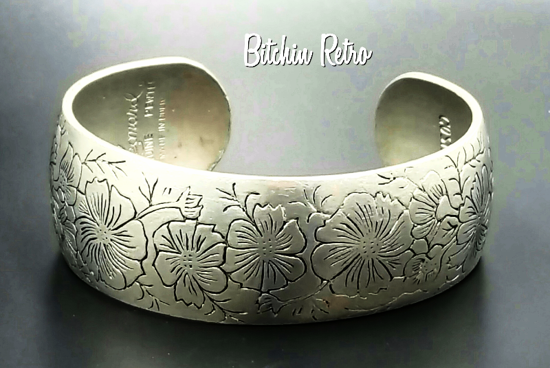 Leonard Vintage Bracelet Pewter With Engraved Cosmos Flowers and Delicate Design