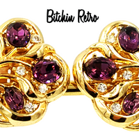 Crown Trifari Vintage Rhinestone Earrings at bitchinretro.com