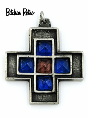 Tennesmed Sweden Pewter Cross Pendant Vtg Rare Shadow Box With Glass Inserts
