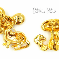 Retro Styled 1970's Styled Mushroom and Mouse Pins at bitchinretro.com