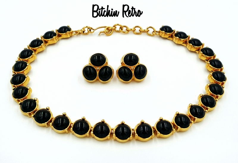 Monet Necklace And Earring Set Vintage Black Cabochons Bitchin Retro