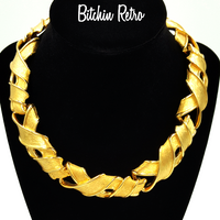 Givenchy Necklace Brushed Gold Tone Links With High Sheen Edges