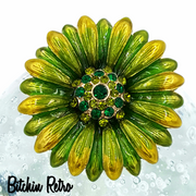Monet Vintage Rhinestone Flower Brooch with Green and Yellow Enamel