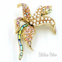 Orchid Rhinestone and Pearl Brooch  Vintage Flower Pin