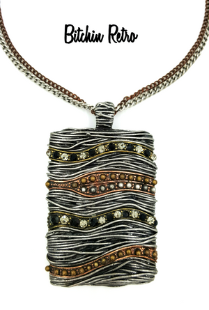 Mixed Metal Pendant Necklace With Rhinestones by Designer You and I