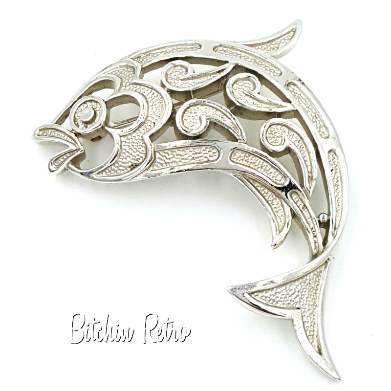 Crown Trifari Brooch Vintage Fish Paisley or Mosaic Pin Pisces Zodiac Sign