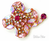 Kramer Rhinestone Brooch Vintage Delicate Shades of Cotton Candy Pink