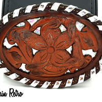 Tony Lama Vintage Leather Belt Buckle With Silver Prismatic Details