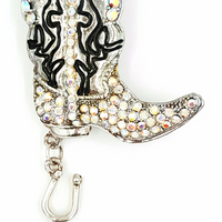 Rhinestone Cowboy Boot Pin and Pendant Western Style Brooch Star Spur Dangle