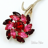 Vintage Rhinestone Flower Brooch Red and Pink Long Stem Floral Pin