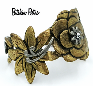 Bohemian Brass Floral Cuff Bracelet Pewter and Rhinestone Accents Boho Style
