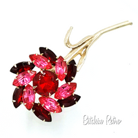 Vintage Long Stemmed Rose Rhinestone Brooch at bitchinretro.com