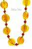 Art Glass Beaded Necklace  Autumn Fall Colors Butterscotch Candy