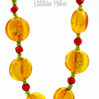 Art Glass Necklace With Retro Candy Theme - Butterscotch and Red Hots at bitchinretro.com