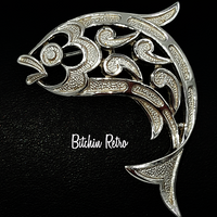 Crown Trifari Paisley Fish Brooch at bitchinretro.com