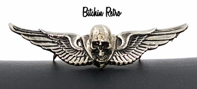 Vintage Winged Skull Pin 1976 from MM Limited Chicago Biker Chopper Gothic Pin