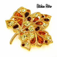 Nolan Miller Brooch Vintage Autumn Leaf Rhinestone Pin Fall Colors Designer
