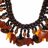 Vintage Hand Carved Wooden Animal Necklace Safari Themed on a Braided Bead Rope
