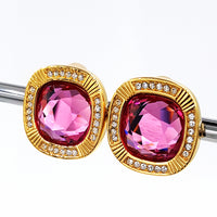Vintage Swarovski Earrings Large 3/4 Inch Pink Crystals with SAL Mark