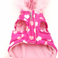 Lulu Puppy or Dog Coat With Pink Hearts and Fur Trim at bitchinretro.com