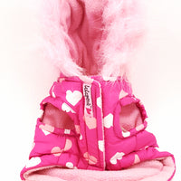 Lulu Pink Dog Coat Pink Hoodie With Fur Trim New XXS Puppy Parka Heart Design