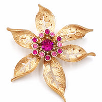 Sarah Coventry Flower Brooch Vintage Pink Rhinestone Center Cluster Large Size